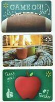 Walmart Gift Card LOT of 3 - Football, Cozy Mugs Fireplace, Apple - No Value