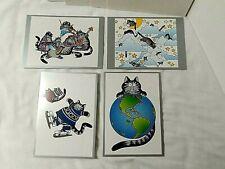 "4 Kliban Kilban Cat New Year'S Holiday Cards Envelopes ""Happy Mew Year"" Rare"