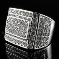 18K White Gold Silver Out Iced Hip Hop Championship Bling MICROPAVE CZ Mens Ring