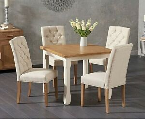 90 Cm Square Oak Table + 6 Cream Chairs