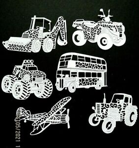 New: 12 x Tattered Lace Transport Die Cuts. White
