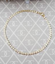 "Ladies Delicate 9ct Yellow Gold Flat Curb Bracelet 7.5"""