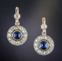 14K Gold Over Vintage Art Deco 4.0Ctw Diamond/Sapphire Cabochon Earring 1920's
