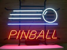 """New Play Pinball Here Neon Light Sign 20""""x16"""" Beer Cave Bar Game Room Glass"""