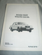 Volvo 244 DL Motor road test reprint brochure Jan 1981