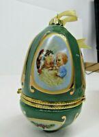Mr. Christmas Musical Egg Shaped Ornament Trinket Box W/Santa Valerie Parr