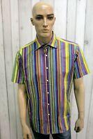 ETRO Taglia XL Camicia Uomo Multicolore Italia Cotone Shirt Casual Manica Corta
