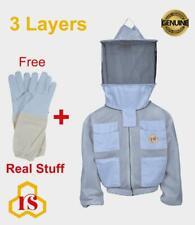 Professional Bee 3 Layer UV beekeeping beekeeper jacket Round veil size <XL>
