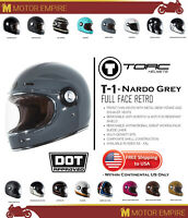 TORC T1 Retro Full Face Fiberglass Motorcycle Helmet Gloss Nardo Grey DOT ECE