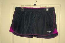 Maxed Womens Navy Blue & Fuschia Drawstring Athletic Shorts W/ Lining Sz L