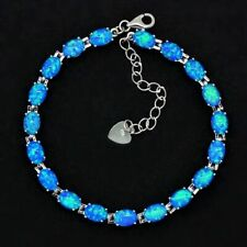 "925 Sterling Silver Dipped Oval Blue Fire Opal Tennis Bracelet 7.5""-8' Adjust"