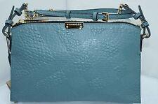 Burberry New Bag Grain Check Wristlet Crossbody Blue Handbag Authentic NWT