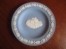 Wedgewood Blue Jasperware round 1970 Commonwealth Games Trinket pin tray dish!