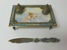 19th C. French Champleve & Bronze Double Inkwell Inkstand & Letter Opener