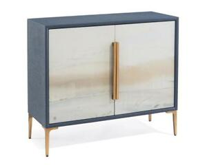 """42"""" W Cabinet Artisan Painted Inlaid Linen Doors Gold Leaf Legs Brass Accents"""