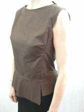Easton Pearson Size 10 Brown Cotton Structured Sleeveless Blouse
