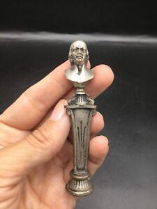 Unusual Antique French figural bronze wax seal of Benjamin Franklin