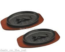 Set Of 2 Cast Iron Sizzler Dishes Serving Plates Platter Wooden Trivets & Handle
