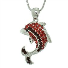 "Dolphin W Swarovski Crystal Red Ocean Sea Marine Pendant Necklace 18"" Chain"