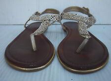 Women's Aldo Gold Rhinestones T Strap Thong Slingback Sandals-- Size 9/40