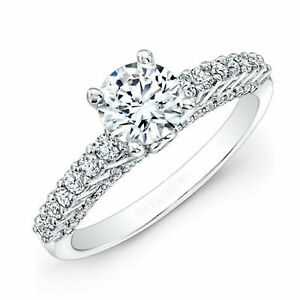 1.72 Ct Round Cut Diamond Engagement 14K Solid White Gold Womens Rings Size 7.5