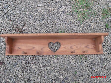 """Wood Wall Hanging Shelf Rack Heart Cut Out 34"""" Long"""