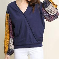 umgee women  mix print long sleeve boho top S M L Navy blue