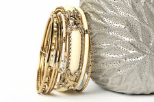 Women's Fashion Ivory Bronze Boho  Bangles Bracelet Set Ivory/Gold
