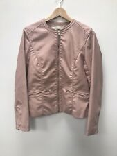 Pull & Bear Faux Leather Biker Jacket Blush Pink Size L
