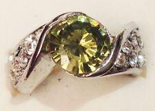 bague bijou couleur argent rhodier panier déco oxyde diamant solitaire vert T52