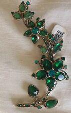 Green Crystal Floral Spray Brooch Pin Vintage New W Ticket Monet Goldtone