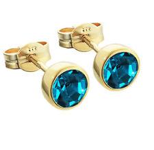 Paar Ohrstecker Gold 333er 5,50mm türkis Zirkonia Ohrringen Kinder M81