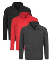 Mens BLACK RED GREY Breathable Lightweight Quarter Half Zip Neck Micro Fleece