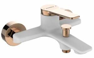 White/Rose Gold Finishing Bath Tap Wall Mounted Bathtub Mixer Single Lever