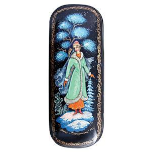 "Russian Eyeglasses Case, Snow Maiden Snegurochka, Handmade, Palekh Style, 3x6"""