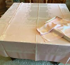 Vintage Pink Damask Tablecloth W/12 Matching Napkins Unused Original Box 66x105