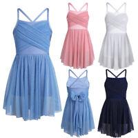 Girls Glittery Mesh Overlay Lyrical Dance Dress Ballet Ballroom Dancing Costumes