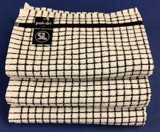 Samuel Lamont Poli-Dri Kitchen/Tea Towels White/Black 3 Piece Set 100% Cotton