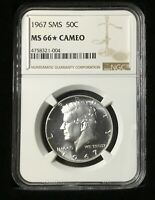 1967 SMS Kennedy Half Dollar NGC MS 66* Star Cameo- Near Perfect - Frost White.