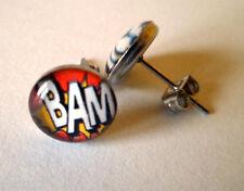 Comic Book Bam! Logo Stud Earrings Single Surgical Steel Butterfly Fastening New