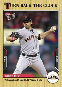 2021 TOPPS NOW TURN BACK THE CLOCK SAN FRANCISCO GIANTS BARRY ZITO #202