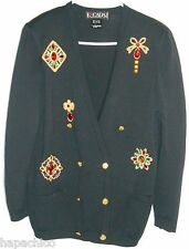 ESCADA Vintage Wool Knit Cardigan Sweater 4 Black Jewels Crown Royal Embroidered