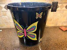 VTG Black LitNing Products Round Metal Commercial Office Trash Waste Basket 1940