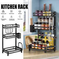 Kitchen Shelf Spice Rack Stackable Organizer Storage Cabinet Cupboard 3 Layers