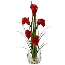 Nearly Natural 1118-RD Calla Lilly Liquid Illusion Arrangement in Vase NEW