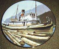 S.S. Master British Columbia Heritage Object By Geoffrey Rock Tugboat Ship Plate