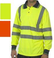 Polo Shirt Long Sleeve Hi Visibility Yellow or Orange Reflective Hi Viz Class 3