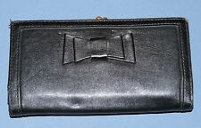 H&M Stockholm Divided Black Leather Wallet Snap Coin Cards Bills Bow accent