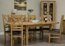Claridge Solid Oak Furniture Oval Extending Dining Table and Six Chairs Set