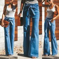 Fashion Women High Waist Hippie Boho Bell Bottom Flare Stretch Jeans Pants S-2XL